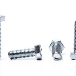 Heap of bolts on a white background